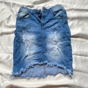 Machine brand ripped denim skirt